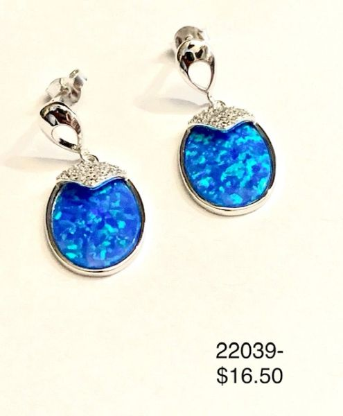 925 Sterling Silver Simulated Blue Opal long drop earrings - 22039-k5