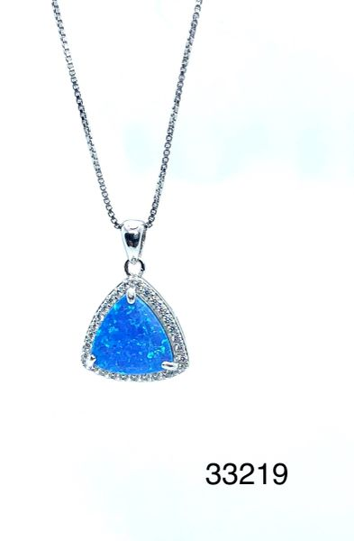925 Sterling Silver Simulated Blue Opal Triangle Micro pendant-33219-k5