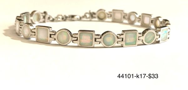 925 Sterling Silver Simulated white opal round and square bracelet- 44101-k17
