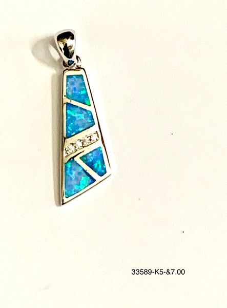 925 Sterling Silver Simulated Blue Opal inlaid western style pendant-33589-k5