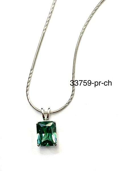 925 Sterling Silver Color Changing Paraiba Stone emerald cut Pendant-33759-PR-CH