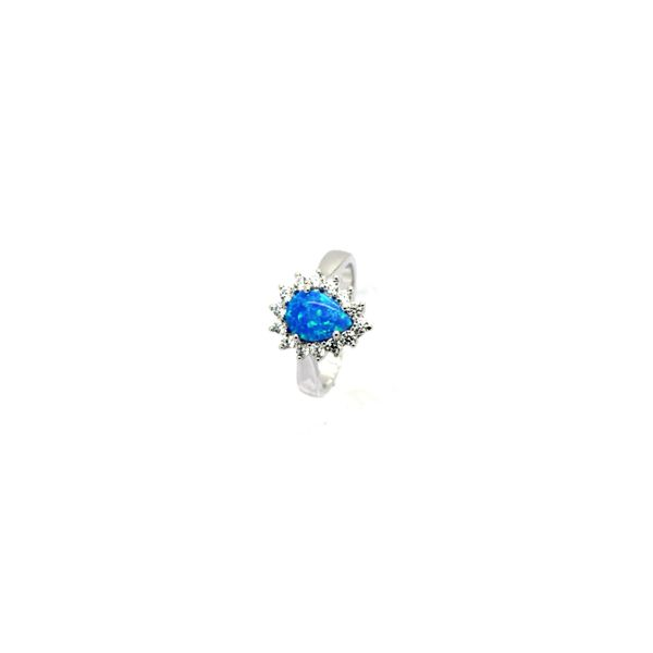 925 Sterling Silver Simulated Blue Opal Ring pear shape vintage style- 11042-k5