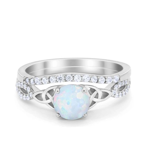 925 Sterling Silver Simulated White Opal Oval shape, Celtic style-11675-k17