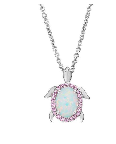 925 Simulated White opal Turtle Pendants -33549-k17