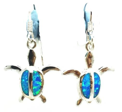 925 Simulated blue opal Turtle dangling earrings - 22op02-k5