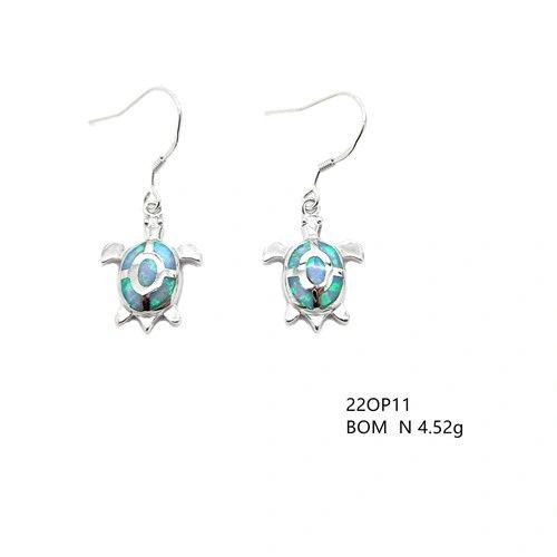 925 Simulated Blue Opal Turtle earrings fish wire -22op11-k5