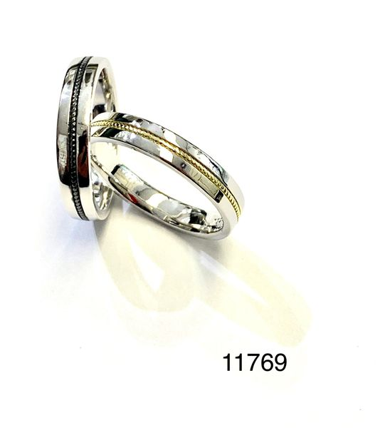 925 Sterling Silver Comfort fit unisex man & lady wedding band rings in 2 tone colors - 11769