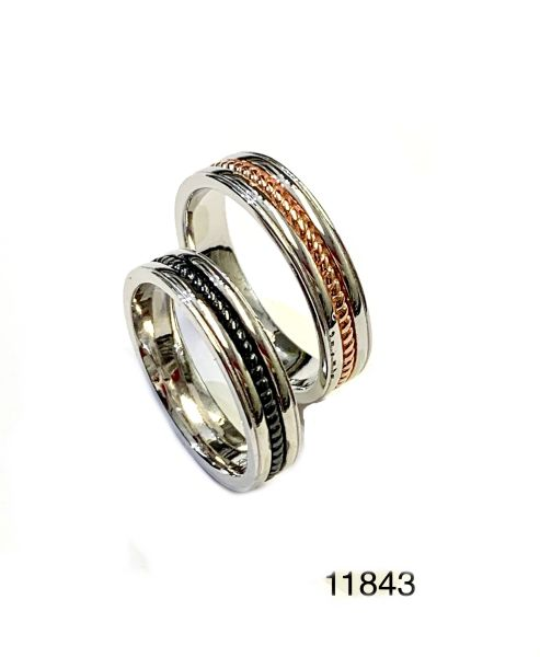 925 Sterling Silver Comfort fit unisex man & lady Curved wedding band rings in 2 tone colors - 11843