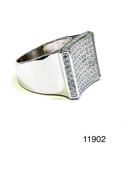 925 STERLING SILVER PAVE SETTING SQUARE MAN CZ RING,11902-WH