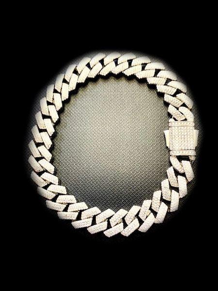 925 STERLING SILVER MAN CZ CUBAN LINK BRACELETS, FANCY HIPHOP STYLE SPECIAL LUCK -44259