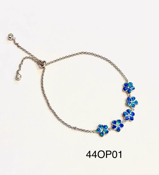 925 Sterling Silver Simulated Opal Hawaiian Flower adjustable Bracelet-44op01-k5