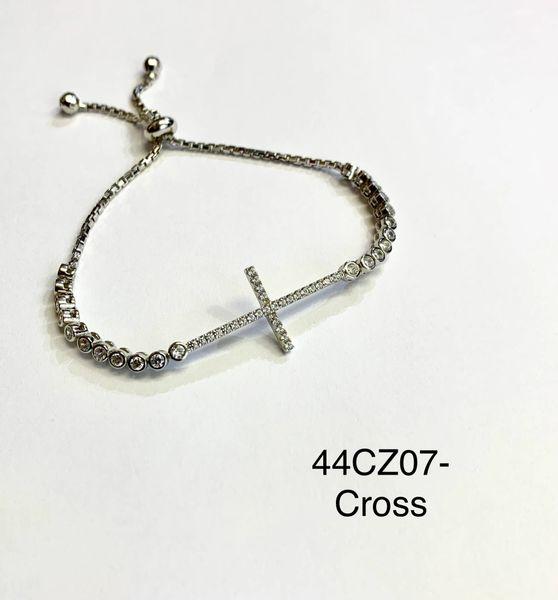 925 Sterling Silver Adjustable white cz Cross Bracelet-44cz07-wh