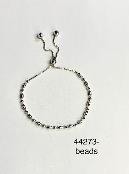 925 Sterling Silver Adjustable Beads Bracelets 3mm- 44273-bd 3mm