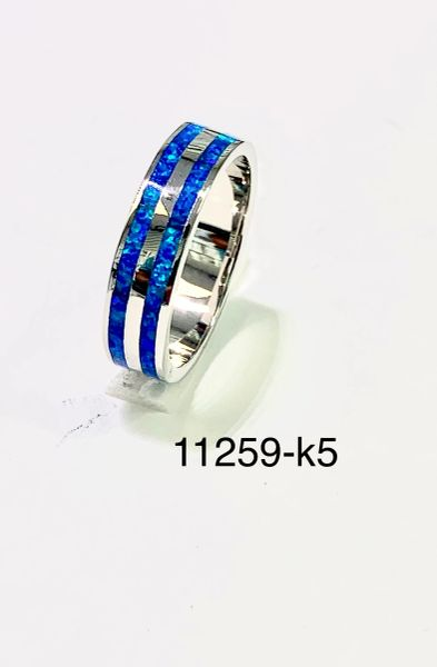 925 SILVER SIMULATED OPAL BLUE COLOR DOUBLE LINE ETERNITY BAND 6mm,unisex 11259-K5