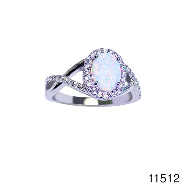 925 Sterling Silver Simulated with Opal Rings infinity oval shape- 11512-k17