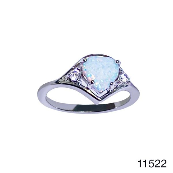 925 Sterling Silver Simulated white Opal Rings Heart shape- 11522-k17