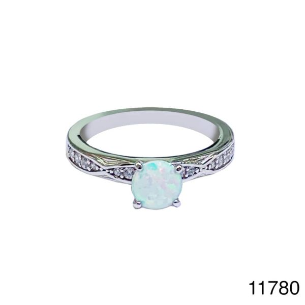 925 Sterling Silver Simulated white Opal Solider Rings- 11780-k17