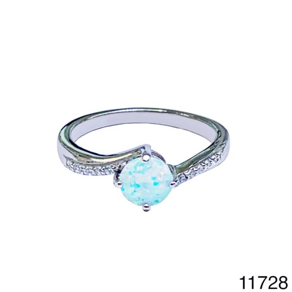 925 Sterling Silver Simulated white Opal solitaire Ring-11728-k17