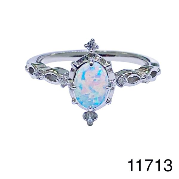 925 Sterling Silver Simulated white Opal solitaire Vintage Ring-11713-k17