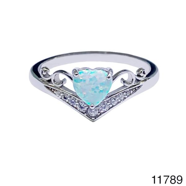 925 Sterling Silver Simulated white Opal Crown Vintage Ring-11789-k17
