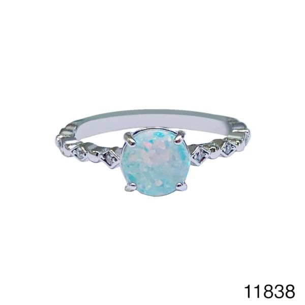 925 Sterling Silver Simulated white Opal Solitaire round Vintage Ring-11838-k17