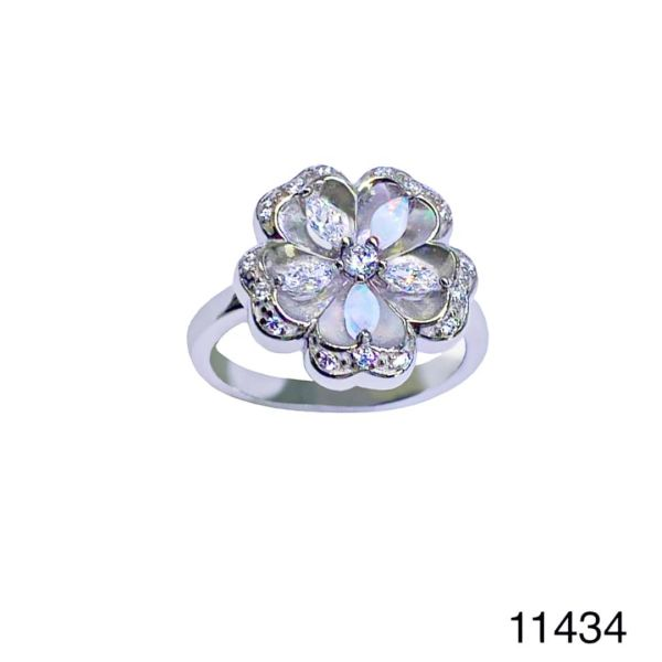 925 Sterling Silver Simulated white Opal Flower Style Vintage Ring-11434-k17