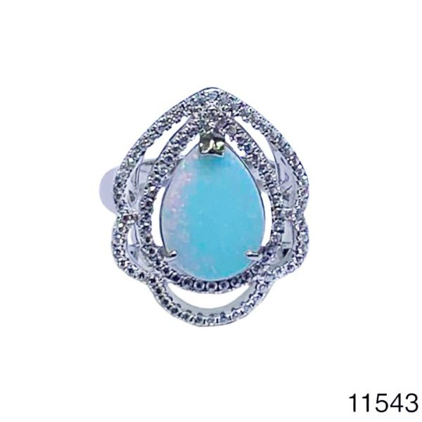 925 Sterling Silver Simulated white Opal flower drop Style Vintage Ring-11543-k17