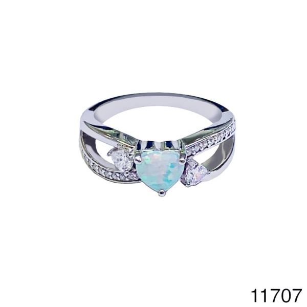 925 Sterling Silver Simulated white Heart Style Vintage Ring-11707-k17