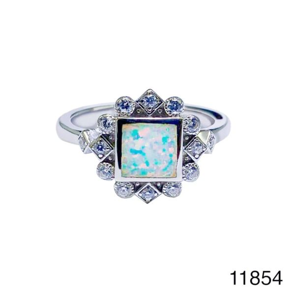 925 Sterling Silver Simulated white Square Style Vintage Ring-11854-k17