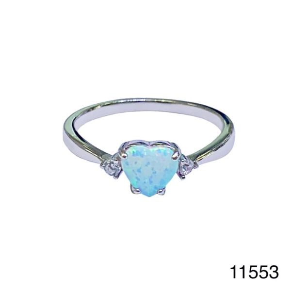 925 Sterling Silver Simulated white opal ring-heart ring-11553-k17