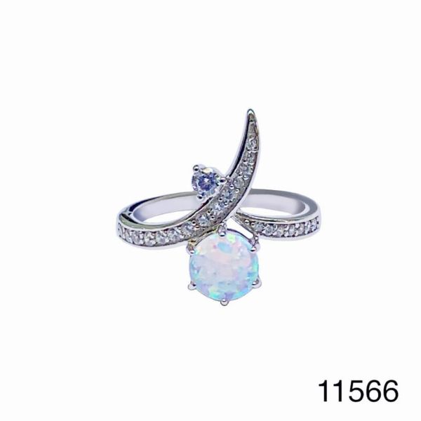 925 Sterling Silver Simulated white opal ring-nail ring-11566-k17