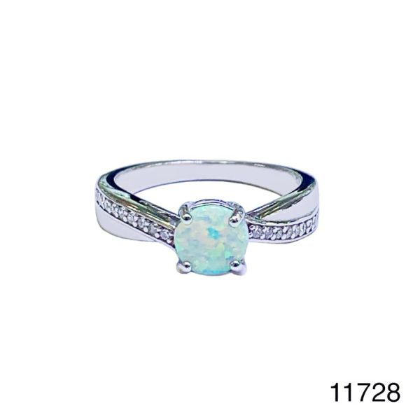 925 Sterling Silver Simulated white opal ring-solitaire ring-11782-k17