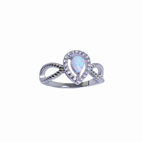 925 Sterling Silver Simulated white opal ring-Pear shape ring-11753-k17