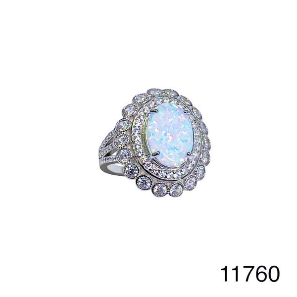 925 Sterling Silver Simulated white opal ring-Vintage oval shape ring-11760-k17