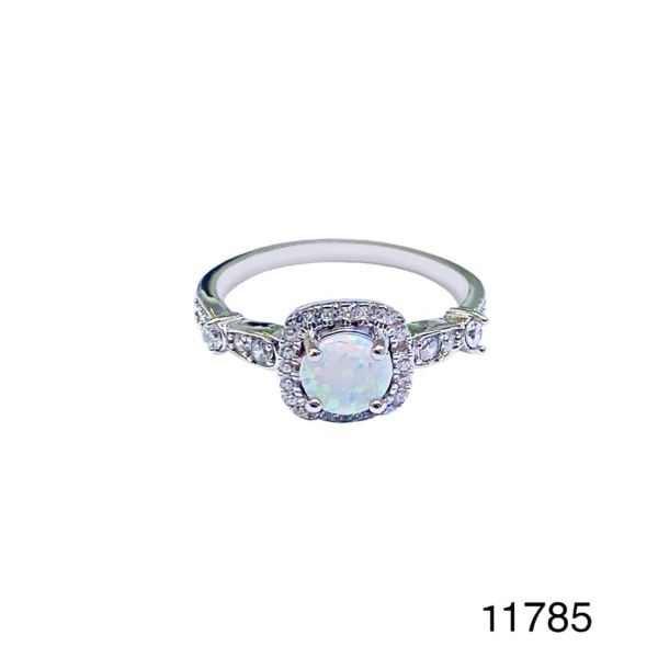 925 Sterling Silver Simulated white opal ring-Vintage round solitaire shape ring-11785-k17