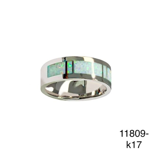 925 Sterling Silver Simulated white opal ring-Man Band ring-11809-k17