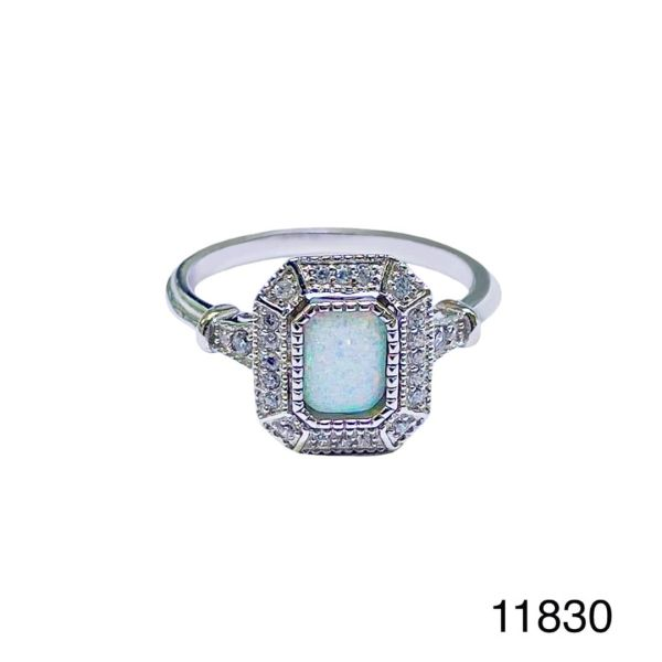 925 Sterling Silver Simulated white opal ring-Vintage emerald cut ring-11830-k17