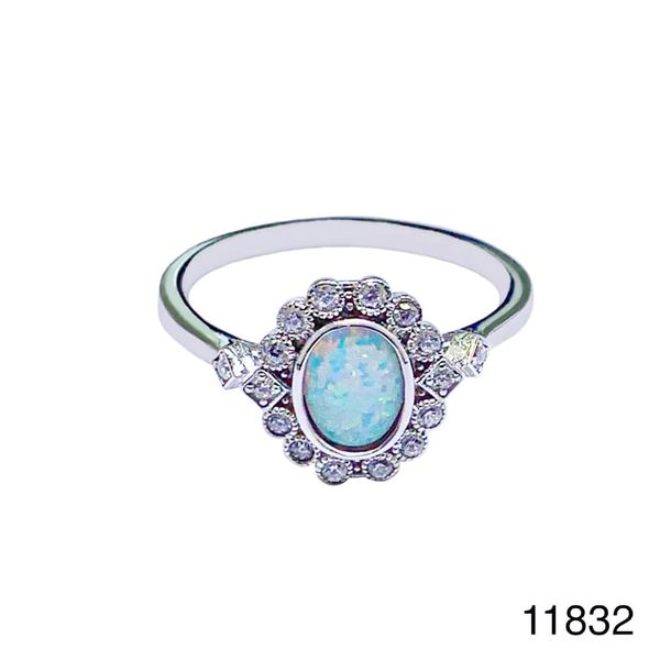 925 Sterling Silver Simulated white opal ring-Vintage oval ring-11832-k17