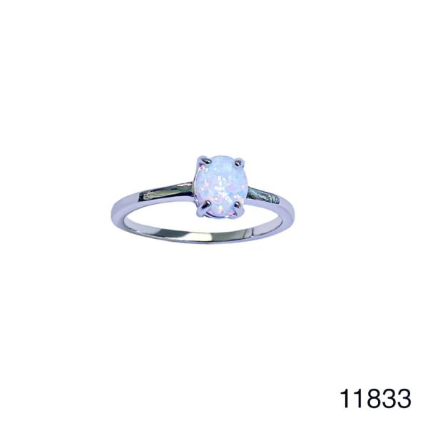 925 Sterling Silver Simulated white opal ring-Solitaire round ring-11833-k17
