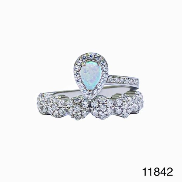 925 Sterling Silver Simulated white opal ring- Crown Flower Ring-11842-k17
