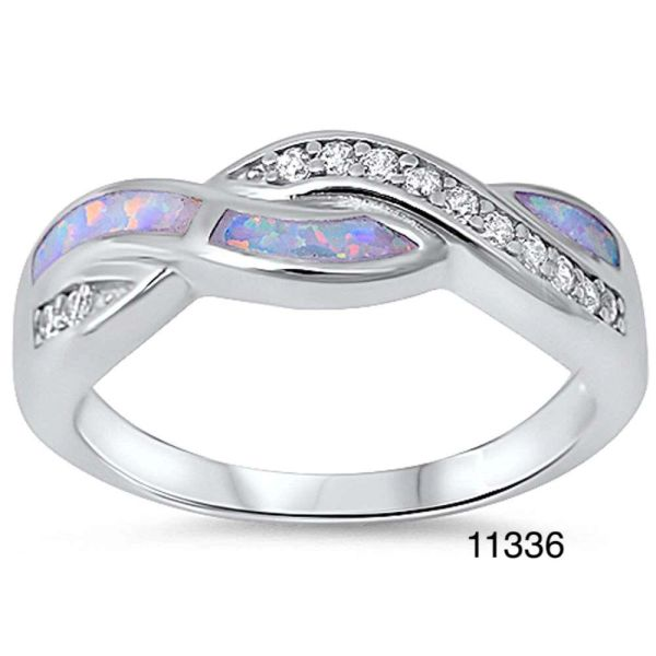 925 S,SILVER SIMULATED BLUE OPAL INFINITY RING,11336-K5