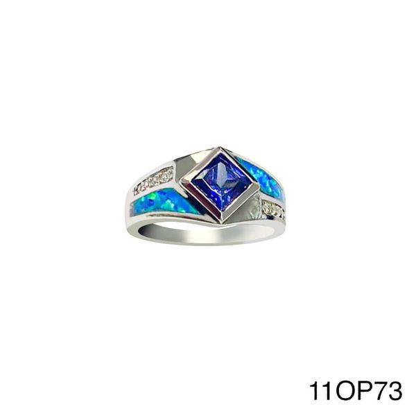925 Sterling Silver Simulated Inlaid opal ring with square cz -11op73