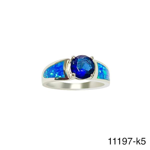 925 Sterling Silver Simulated Inlaid opal ring with round cz -11197-k5
