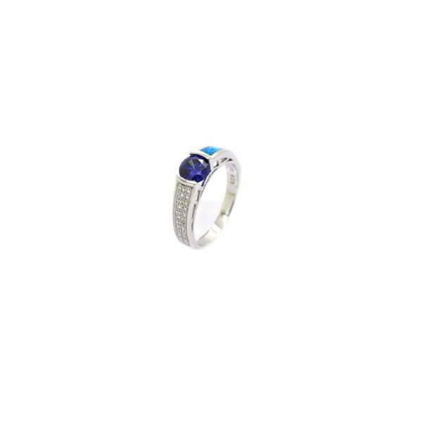 925 Sterling Silver Simulated Inlaid opal ring with cz color stone-11op63-k5
