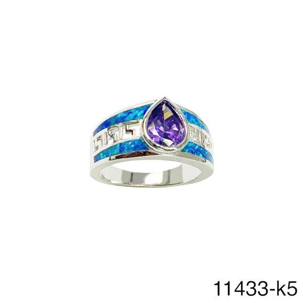 925 Sterling Silver Simulated Blue Opal Greek key pear color cz stone opal ring-11433-k5