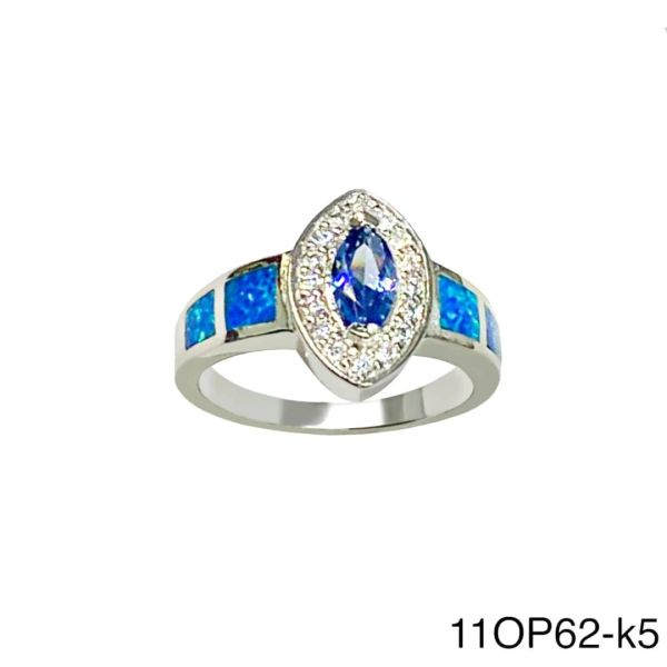 925 Sterling Silver Simulated Blue Opal marquise color cz stone opal ring-11op62-k5