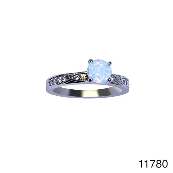 925 Sterling Silver Simulated White Opal ring Solieter -11780-k17