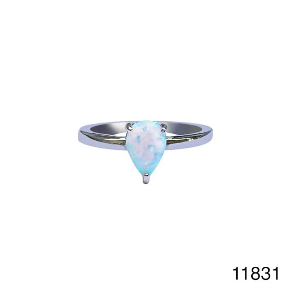925 Sterling Silver Simulated White Opal ring Solitaire PEAR SHAPE -11831-k17