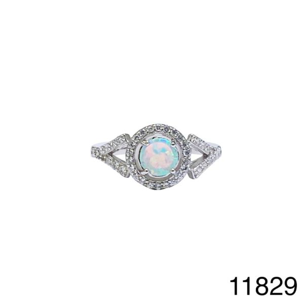 925 Sterling Silver Simulated White Opal ring halo style round stone -11829-k17