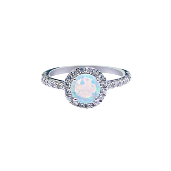 925 Sterling Silver Simulated White Opal ring halo style round stone -11661-k17